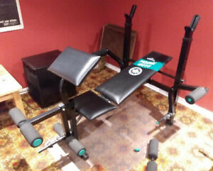 York weight bench with leg, arm and preacher curl attachments