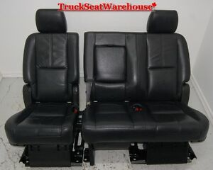 Yukon tahoe short 2010 2nd row BLACK LEATHER bench seat escalade