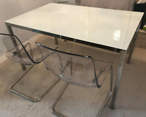 IKEA Dining Table, Glass Table Top & IKEA Chairs (x2)