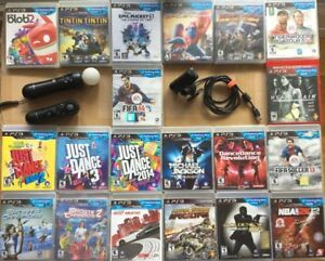 Manettes PS Move, caméra, Amazing Spiderman, Tintin