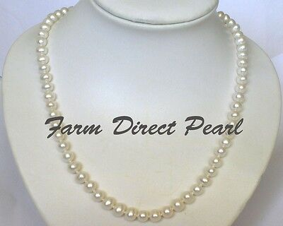 """24"""" Inch Long Genuine 7-8mm White Pearl Strand Necklace Cultured Freshwater"""