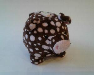 Mary Meyer Plush Piggy Coin Bank, Choc. Brown w/Pink Polka Dots