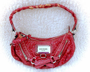 GUESS Authentic Red Leather Handbag Purse Bag Metallic Details