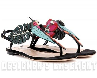VALENTINO GARAVANI 38.5 Tropical Dream FLOWER & PARROT thong Sandals NIB Authent Dreams Thong Sandal
