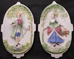 Paire plaque murale porcelaine Marie-Antoinette / Occupied Japan