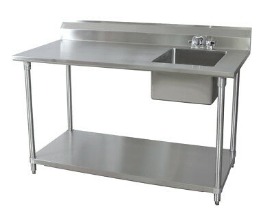 Bk Resources 72wx30d Stainless Steel Prep Table W Right Side Sink