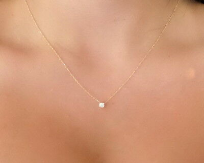 DIAMOND SOLITAIRE NECKLACE 14K YELLOW GOLD 0.15CT SI1 G COLOR 4 PRONG SETTING 4 Prong Solitaire Diamond Pendants