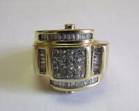 MEN'S SOLID 14k GOLD 1.6 ct DIAMOND RING SPECTACULAR