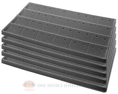 5 Gray Insert Tray Liners W 24 Compartment Earrings Organizer Jewelry Display