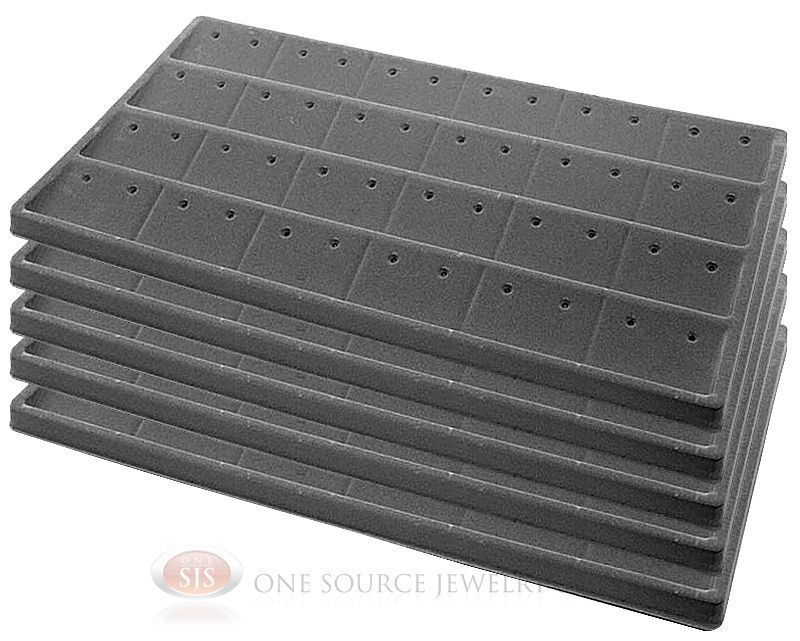 5 Gray Insert Tray Liners W/ 24 Compartment Earrings Organizer Jewelry Display