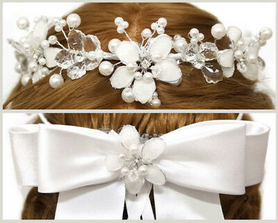 White Flower Girl Wreath First Communion Floral Headpiece Wedding Halo Crown ](First Communion Headpieces)