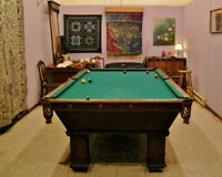 ANTIQUE POOL TABLE and WALL BALL/CUE RACKS
