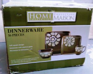Dinnerware Set - 16 pieces - Square Design (New / opened box)
