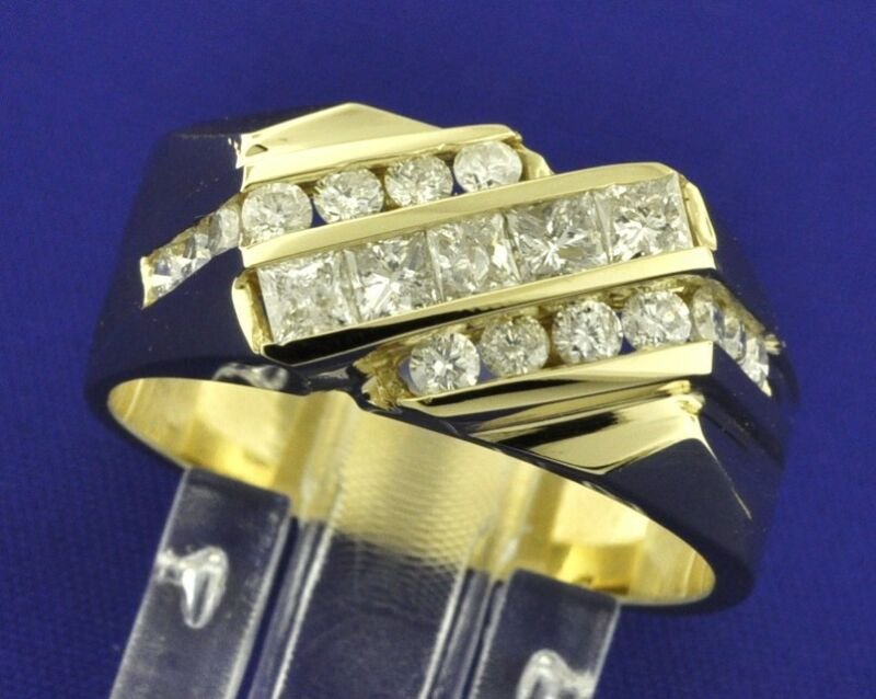 1.35 Ct 14k Solid Yellow Gold Mens Natural Diamond Ring Channel Set Made In Usa