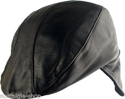 Ascot Cap mit Ohrenschutz, Ledercap, CSA Cap, Flat Cap, Rock`n Roll, Hut, Biker,