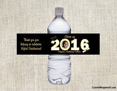 Graduation Graduate ANY YEAR YOUR PHOTO Party Favors Water Bottle Labels Custom - Photo Water Bottle