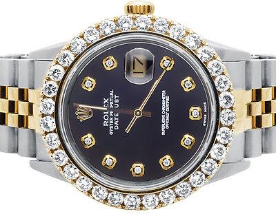 fa718327f9a Rolex Datejust Two Tone 18K  Steel Jubilee 16013 Prong Set Diamond Watch  5.25 Ct