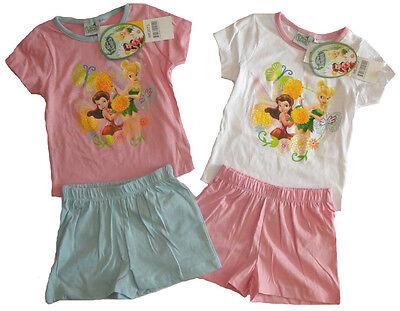 Tinkerbell Mädchen Pyjamas (Disney Fairy Tinkerbell kurzarm Pyjama Schlafanzug für Mädchen NEU Sommer kurz)