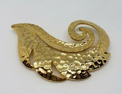Women's Feather Brooch Pin Hammered Texture Gold Tone Unbranded Fashion Jewelry