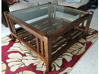 Laura Ashley Dark Wood Chestnut And Glass Coffee Table