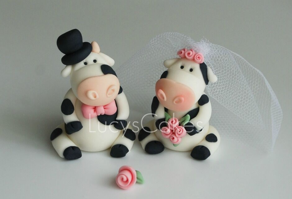 FRIESIAN COW BRIDE AND GROOM WEDDING CAKE TOPPER ENGAGEMENT ANNIVERSARY