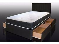"""FREE DELIVERY"" 4ft6 Double / 4ft Small Double / King Divan Bed With 13"" 1000 Pocket Sprung Mattress"
