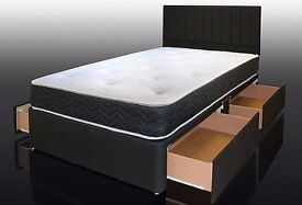 **EXCLUSIVE**Kingsize Bed with 14inch Memory Luxury Orthopaedic Mattress Available in white & Black