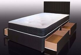 DOUBLE DIVAN BED BASE WITH LUXURY 1000 POCKET SPRUNG MATTRESS FREE DELIVERY
