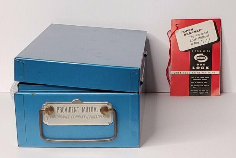 Vtg Metal Combination Lock Box Provident Mutual Life Insurance Philadelphia