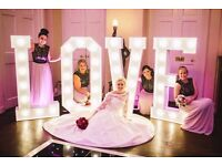 Wedding Prop Hire - 5ft LED Letter DMX Lights, Post Box, Ferris Wheel, Sweet Cart