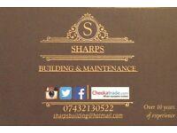 sharps building & maintenance. Builder tradesman handyman