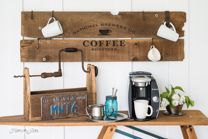 Create a rustic coffee station with a sign and an ironing board / Create a rustic, farmhouse kitchen with these easy ideas! By Funky Junk Interiors for eBay