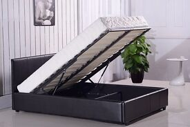 SINGLE BLACK LEATHER BED WITH STORAGE Single/Small Double Bed