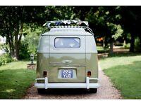 vw split screen camper van hire - weddings, proms, events, occasion