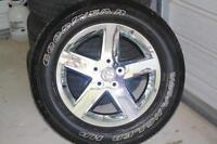 *SOLD* RAM 1500 OEM 20 inch chrome clad wheels and tires