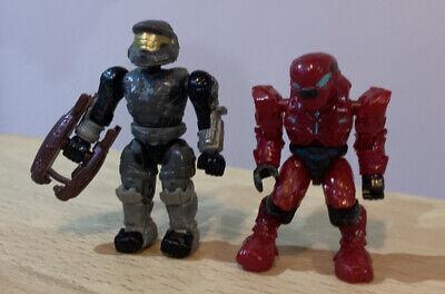 2 Mega Bloks Halo Grey Spartan & Red Alien Action Figures Bundle...