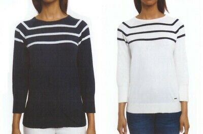 Nautica Striped Sweater - Nautica Ladies Striped Cotton Sweater