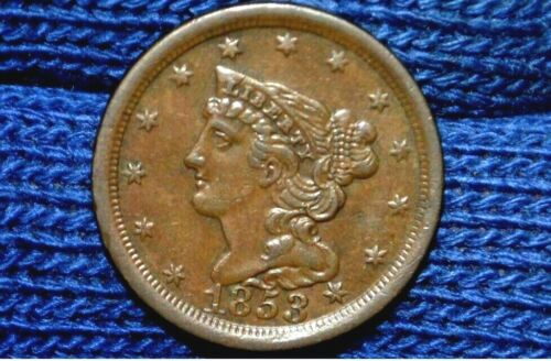 1853 HALF CENT** AU ** CHOICE BROWN ** Take 5% Off Right Now !