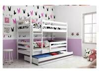 Solid Wood Bunk Beds with Storage Drawer & Free Mattresses