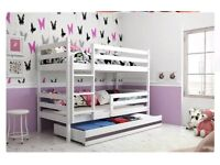 Solid Wood Bunk Beds with Storage Drawer & Free Mattresses.