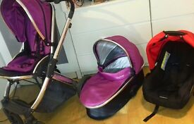 Babystyle oyster 2 pram travel system 3in1 grape very good condiotion