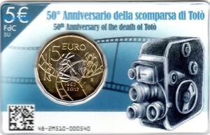 NEW-5-EURO-COMMEMORATIVO-ITALIA-2017-50-scomparsa-di-Toto-in-Folder-NEW