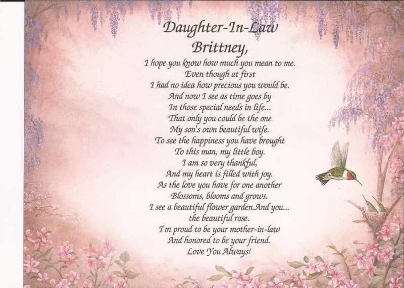 Personalized Daughter-In-Law Poem Perfect Gift for Birthday or Wedding Day