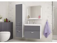 Bathroom Wall Hung Cabinet with Basin Sink & Wall Hung Tall Cabinet -Unused/Brand New