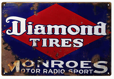 """Reproduction Aged Diamond Tires Gas And Motor Oils Sign 12""""x18"""""""