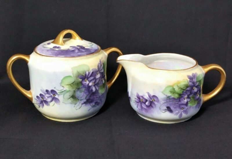 Vintage KPM Porcelain Sugar Bowl & Creamer Hand Painted Violets Made In Germany