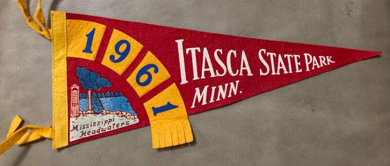 Vintage 1961 ITASCA Minnesota State Park Felt PENNANT Mississippi Headwaters