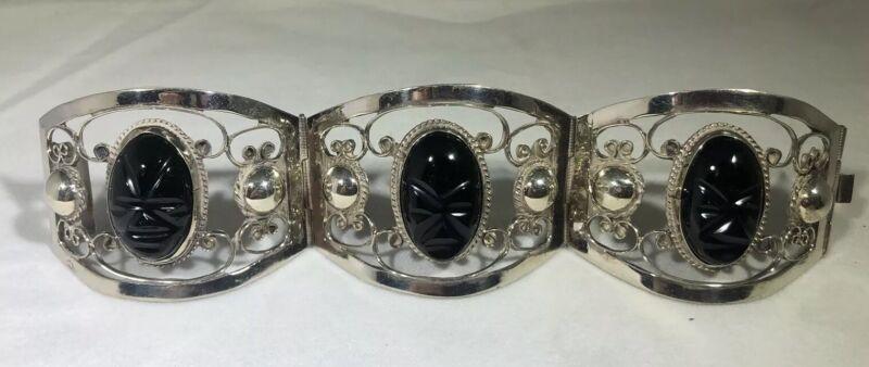 Vintage Sterling Silver Bracelet Mexico Carved Onyx Mask Beautiful Handmade