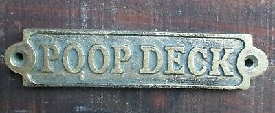 Poop Deck Sign Wall Plaque Cast Iron Nautical Decor Verde Green 5