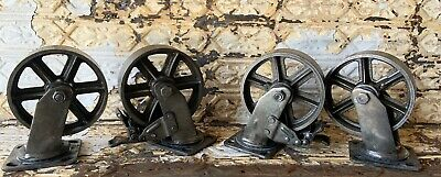 4 Huge 6 Industrial Iron Casters With Brake Modern Steam Punk For Cart